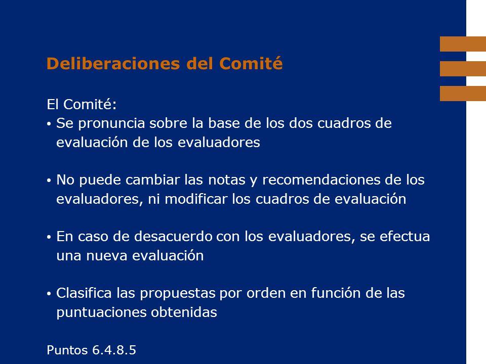 EuropeAid Deliberaciones del Comité El Comité: Se pronuncia sobre la base de los dos cuadros de evaluación de los evaluadores No puede cambiar las not
