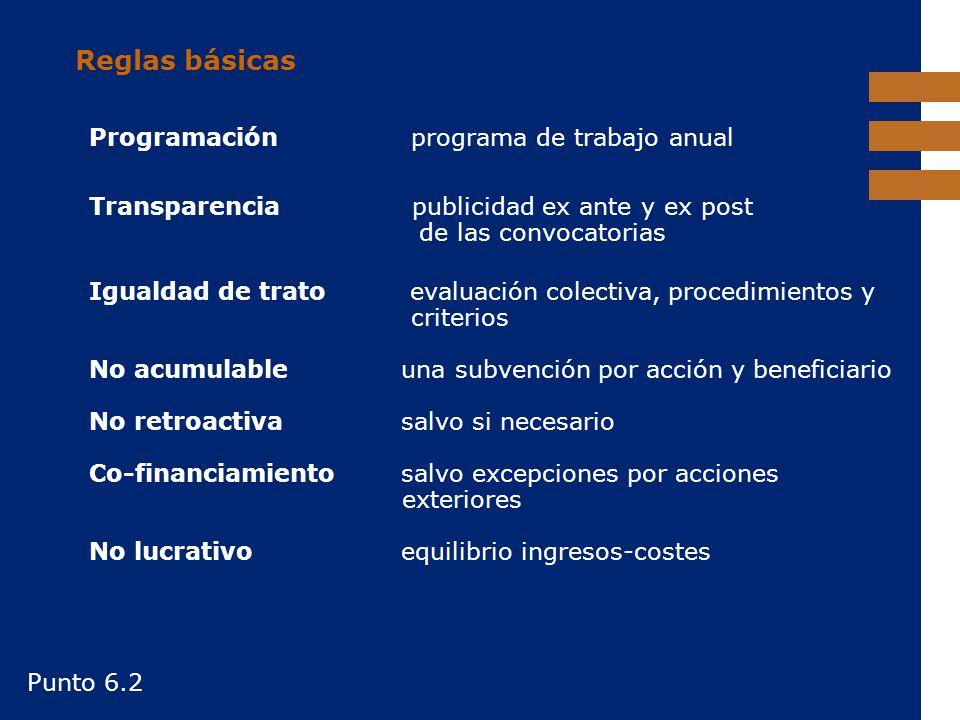 EuropeAid Reglas básicas Programación programa de trabajo anual Transparencia publicidad ex ante y ex post de las convocatorias Igualdad de trato eval