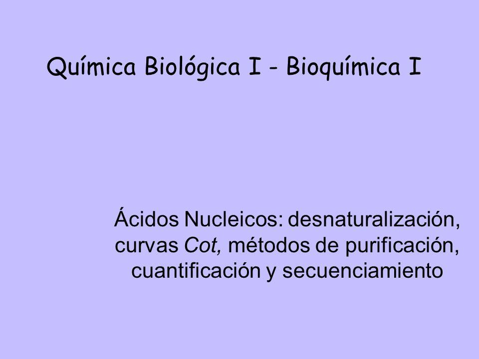 Química Biológica I - Bioquímica I Ácidos Nucleicos: desnaturalización, curvas Cot, métodos de purificación, cuantificación y secuenciamiento