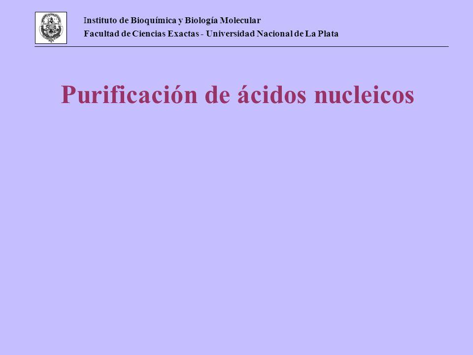 Instituto de Bioquímica y Biología Molecular Facultad de Ciencias Exactas - Universidad Nacional de La Plata Purificación de ácidos nucleicos