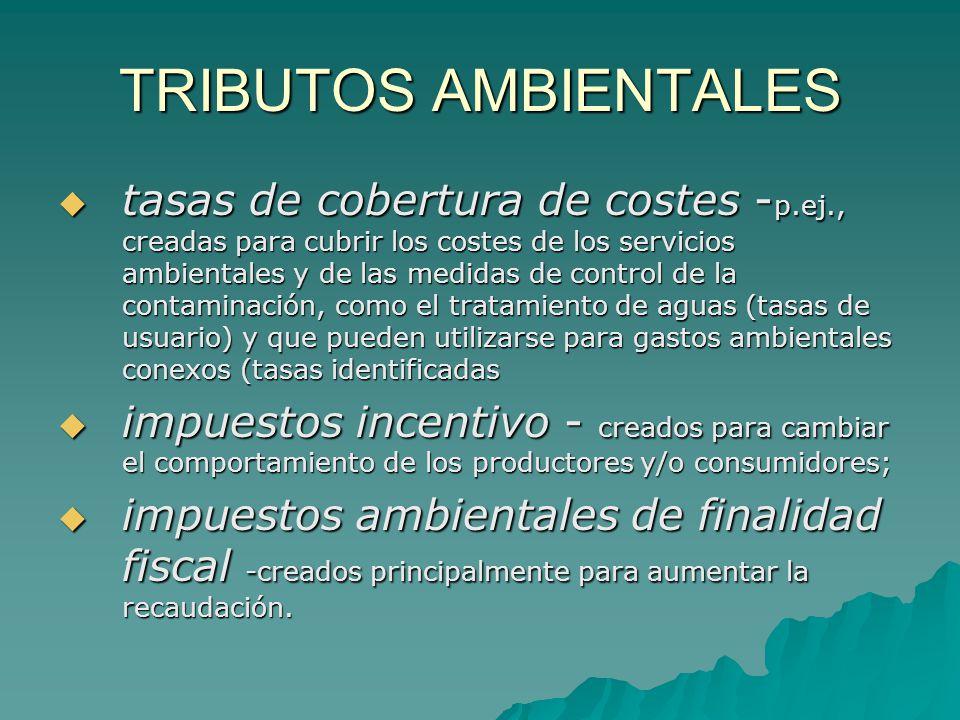 TRIBUTOS AMBIENTALES tasas de cobertura de costes - p.ej., creadas para cubrir los costes de los servicios ambientales y de las medidas de control de