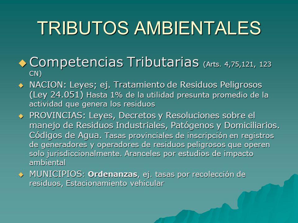 TRIBUTOS AMBIENTALES Competencias Tributarias (Arts. 4,75,121, 123 CN) Competencias Tributarias (Arts. 4,75,121, 123 CN) NACION: Leyes; ej. Tratamient