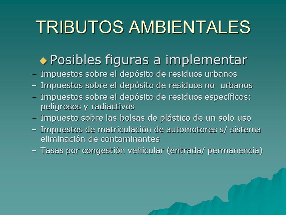 TRIBUTOS AMBIENTALES Posibles figuras a implementar Posibles figuras a implementar –Impuestos sobre el depósito de residuos urbanos –Impuestos sobre e