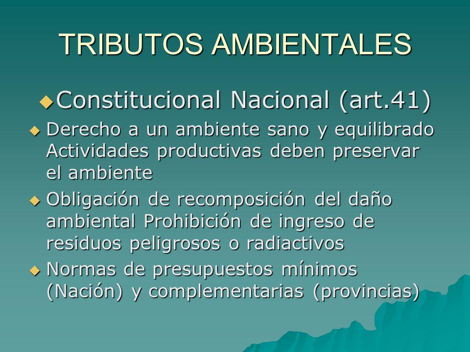 TRIBUTOS AMBIENTALES Constitucional Nacional (art.41) Constitucional Nacional (art.41) Derecho a un ambiente sano y equilibrado Actividades productiva