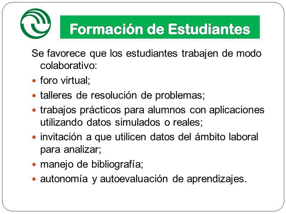 12 Se favorece que los estudiantes trabajen de modo colaborativo: foro virtual; talleres de resolución de problemas; trabajos prácticos para alumnos c