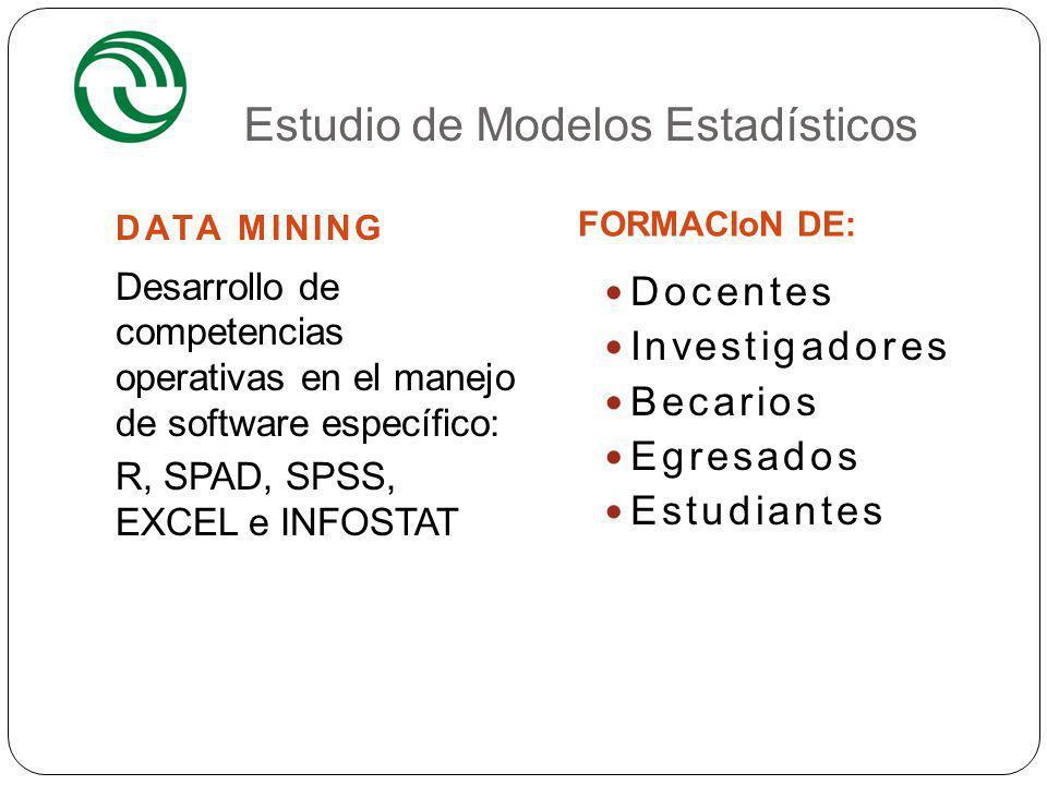 Estudio de Modelos Estadísticos DATA MINING FORMACIoN DE: 4 Desarrollo de competencias operativas en el manejo de software específico: R, SPAD, SPSS,