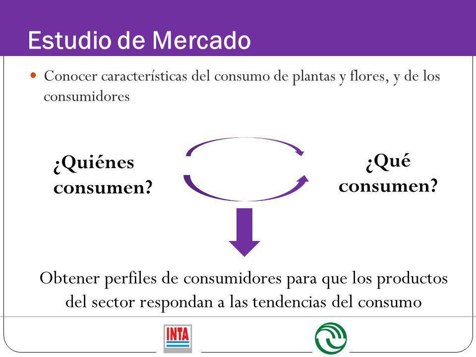 Estudio de Mercado Conocer características del consumo de plantas y flores, y de los consumidores ¿Qué consumen? ¿Quiénes consumen? Obtener perfiles d