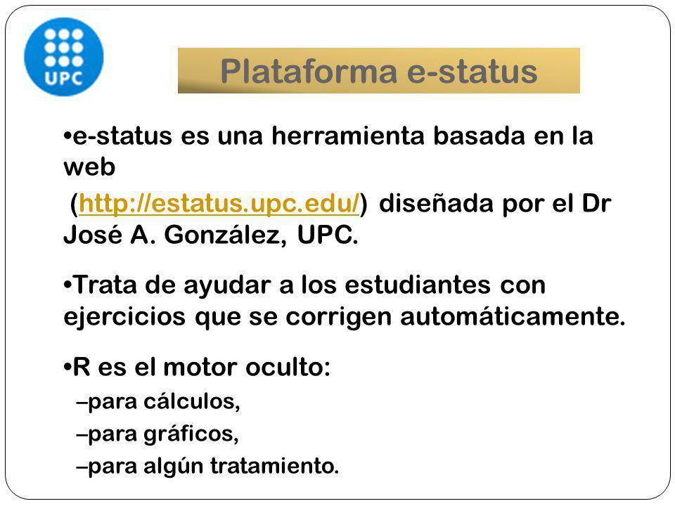 e-status Convenio 2013 Instalación en UNLaM Becarios en ambas universidades Desarrollo conjunto de nuevas funcionalidades Aplicación a cursos de grado en Ingeniería Generación de información estadística para el seguimiento del trabajo de los estudiantes.