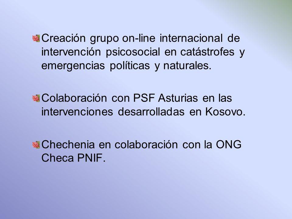 Creación grupo on-line internacional de intervención psicosocial en catástrofes y emergencias políticas y naturales.