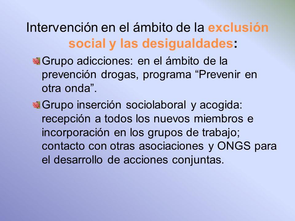 Intervención en el ámbito de la exclusión social y las desigualdades: Grupo adicciones: en el ámbito de la prevención drogas, programa Prevenir en otra onda.