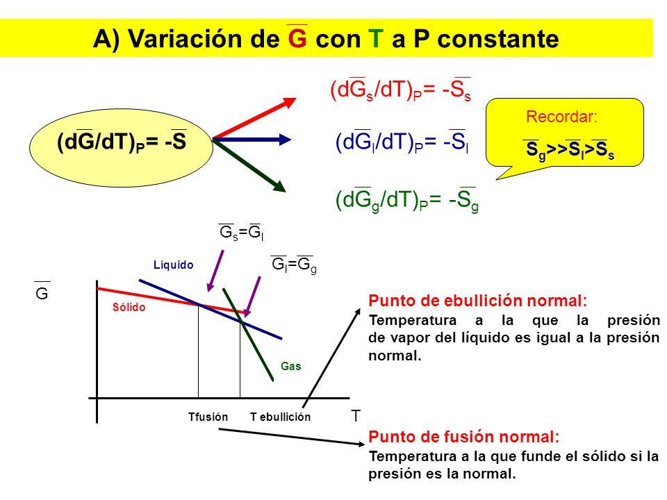 B) Variación de G con P a T constante (dG/dP) T = V (dG s /dP) T = V s (dG l /dP) T = V l (dG g /dP) T = V g Recordar: V g >>V l >V s Excepción agua V g >>V s >V l G Gas Líquido Sólido Tf1 Tf2 Te1 Te2 T P1P1 P2P2 P 2 >P 1 Excepción agua Te2 > Te1 Tf2 > Tf1
