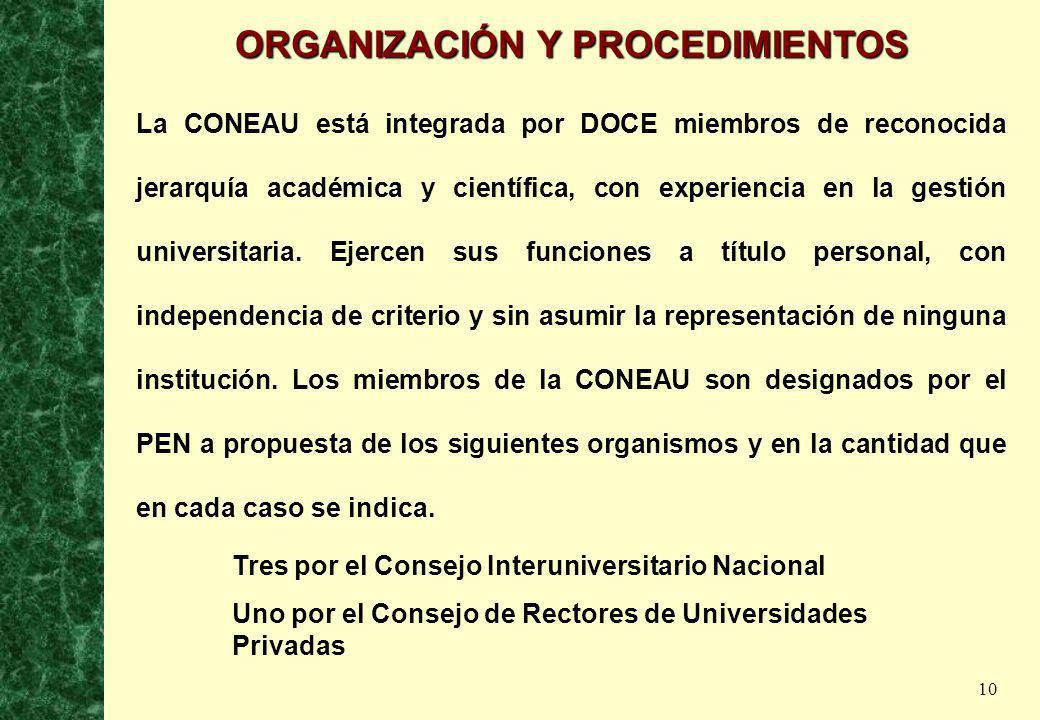 10 ORGANIZACIÓN Y PROCEDIMIENTOS La CONEAU está integrada por DOCE miembros de reconocida jerarquía académica y científica, con experiencia en la gest