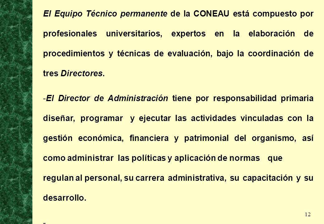 12 El Equipo Técnico permanente de la CONEAU está compuesto por profesionales universitarios, expertos en la elaboración de procedimientos y técnicas
