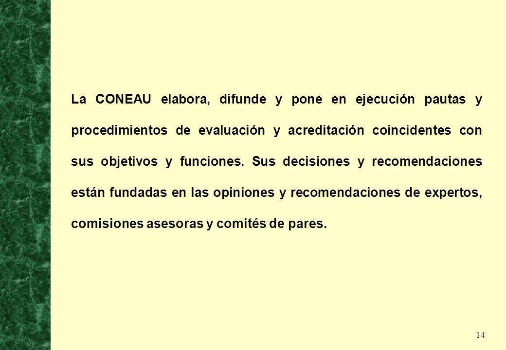 14 La CONEAU elabora, difunde y pone en ejecución pautas y procedimientos de evaluación y acreditación coincidentes con sus objetivos y funciones. Sus