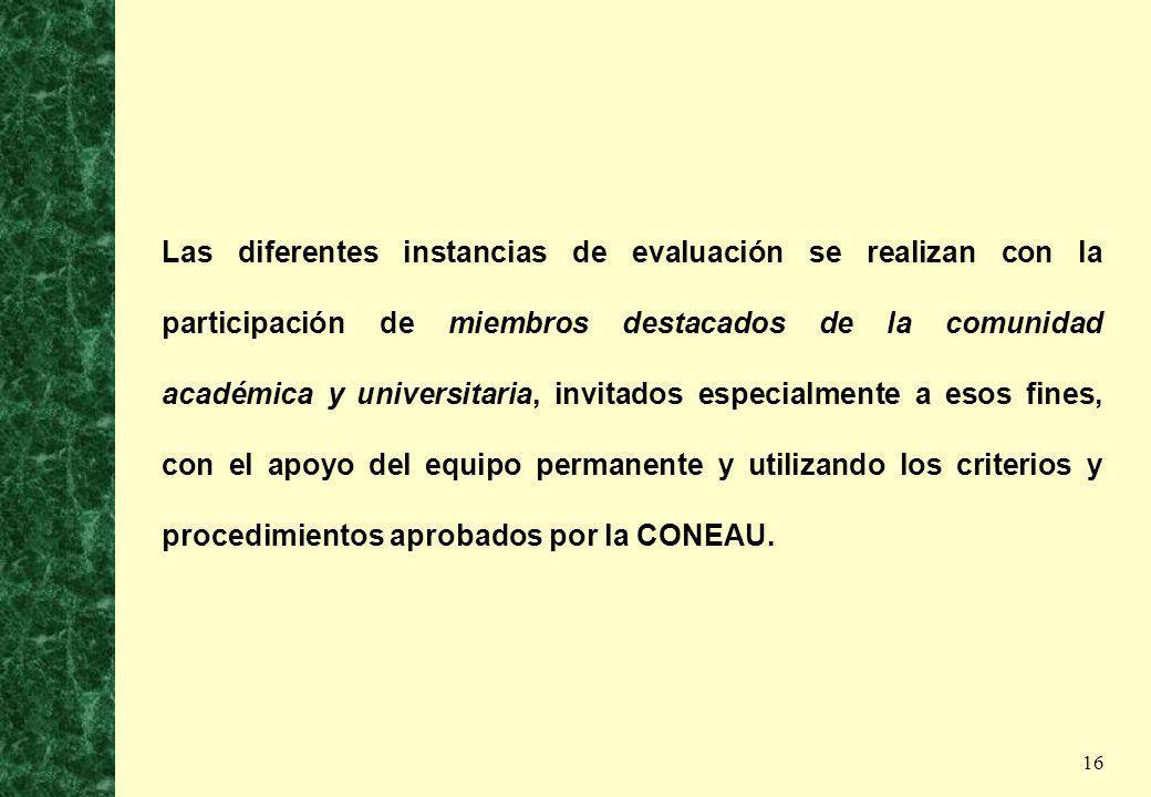 16 Las diferentes instancias de evaluación se realizan con la participación de miembros destacados de la comunidad académica y universitaria, invitado
