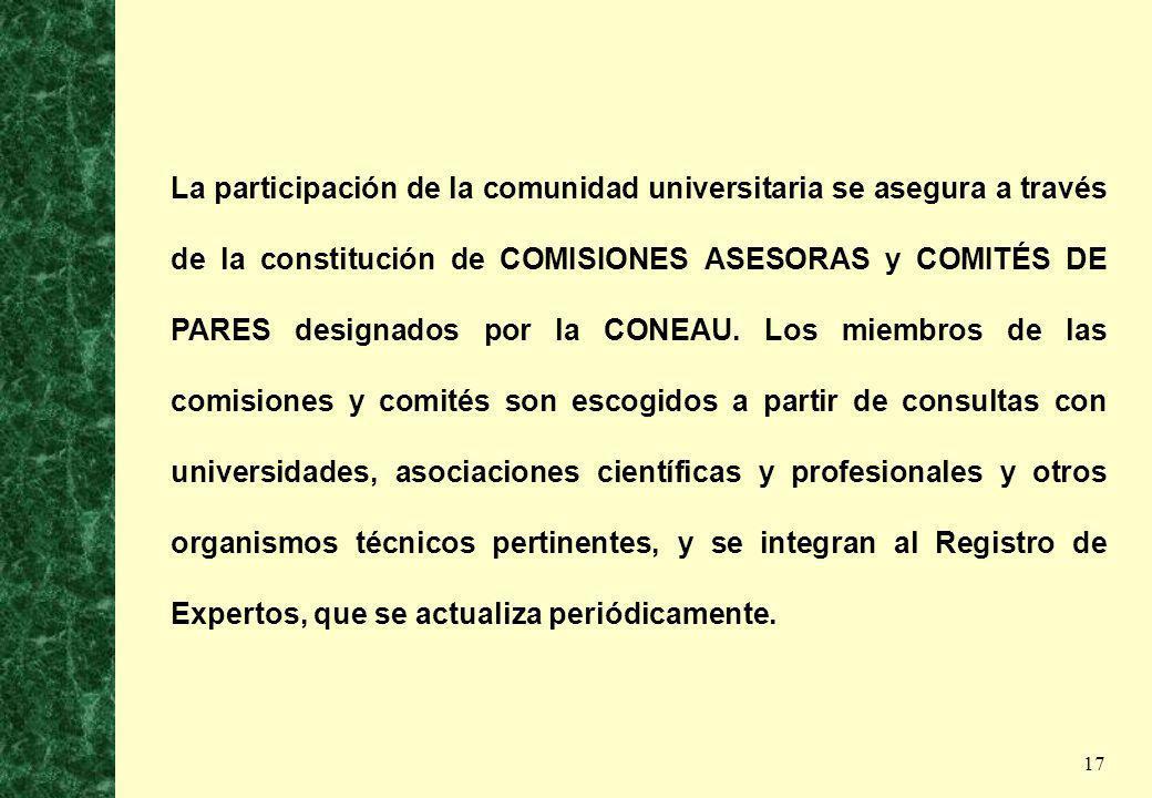 17 La participación de la comunidad universitaria se asegura a través de la constitución de COMISIONES ASESORAS y COMITÉS DE PARES designados por la C