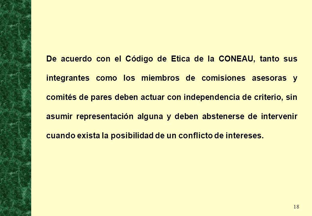 18 De acuerdo con el Código de Etica de la CONEAU, tanto sus integrantes como los miembros de comisiones asesoras y comités de pares deben actuar con