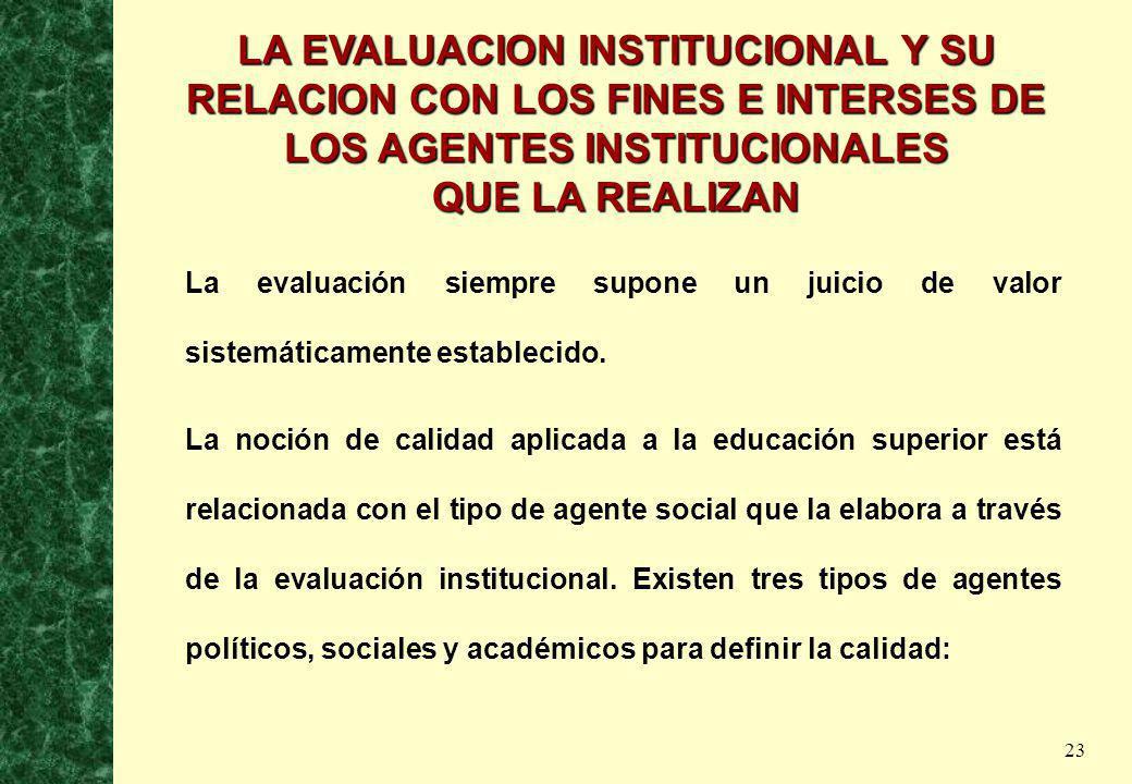23 LA EVALUACION INSTITUCIONAL Y SU RELACION CON LOS FINES E INTERSES DE LOS AGENTES INSTITUCIONALES QUE LA REALIZAN La evaluación siempre supone un j