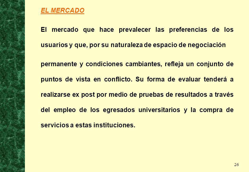 26 EL MERCADO El mercado que hace prevalecer las preferencias de los usuarios y que, por su naturaleza de espacio de negociación permanente y condicio