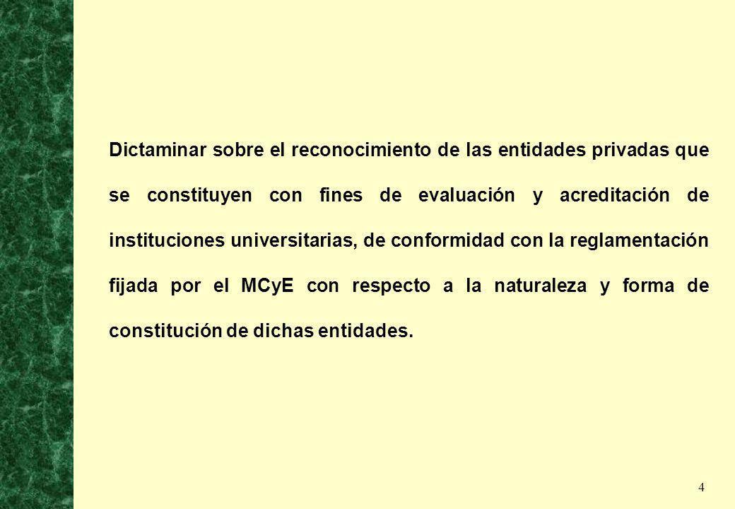 5 Dictaminar sobre la base de evaluaciones de los proyectos respectivos, en lo relativo a la puesta en marcha de nuevas instituciones universitarias nacionales y el reconocimiento de las provinciales.