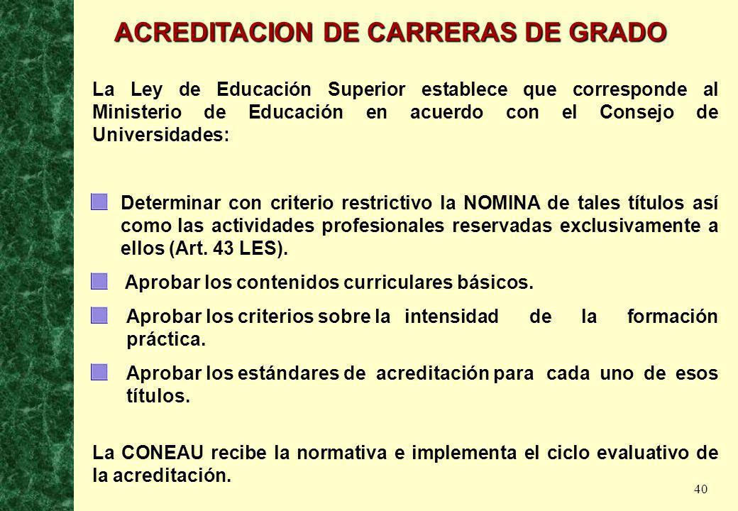 40 La Ley de Educación Superior establece que corresponde al Ministerio de Educación en acuerdo con el Consejo de Universidades: Determinar con criter