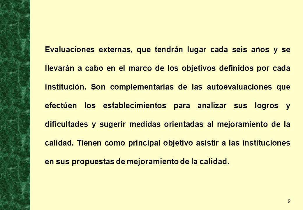 9 Evaluaciones externas, que tendrán lugar cada seis años y se llevarán a cabo en el marco de los objetivos definidos por cada institución. Son comple