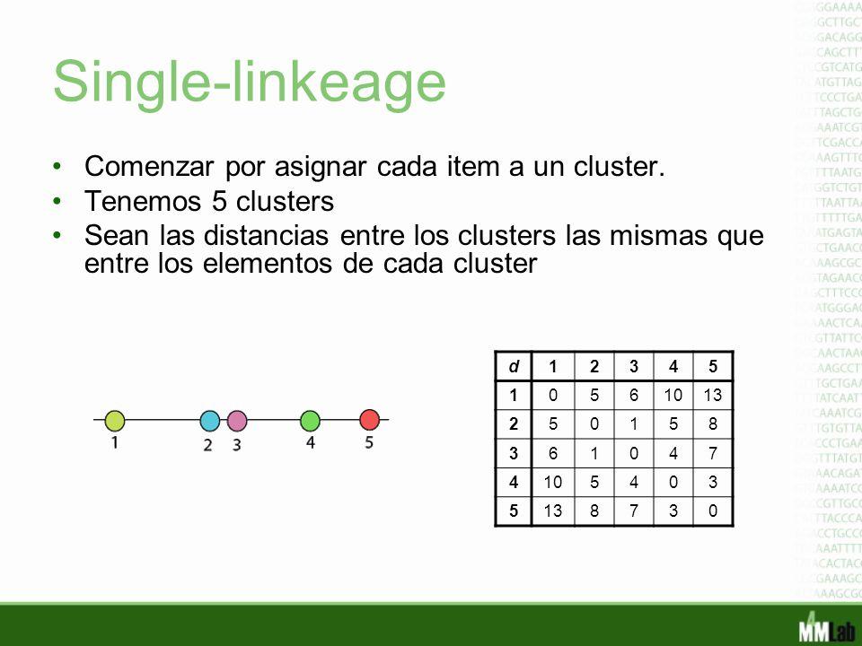 Single-linkeage Comenzar por asignar cada item a un cluster. Tenemos 5 clusters Sean las distancias entre los clusters las mismas que entre los elemen