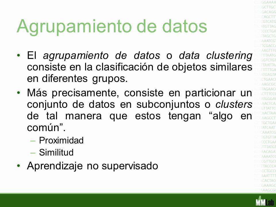 Agrupamiento de datos El agrupamiento de datos o data clustering consiste en la clasificación de objetos similares en diferentes grupos. Más precisame