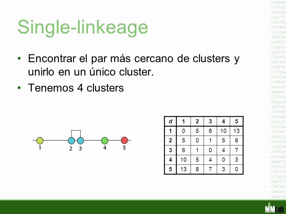Single-linkeage Encontrar el par más cercano de clusters y unirlo en un único cluster. Tenemos 4 clusters d12345 10561013 250158 361047 4105403 513873