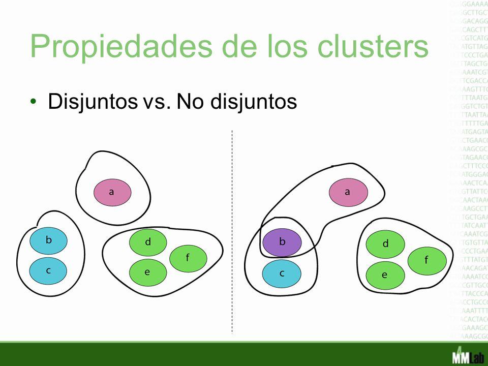 Propiedades de los clusters Disjuntos vs. No disjuntos
