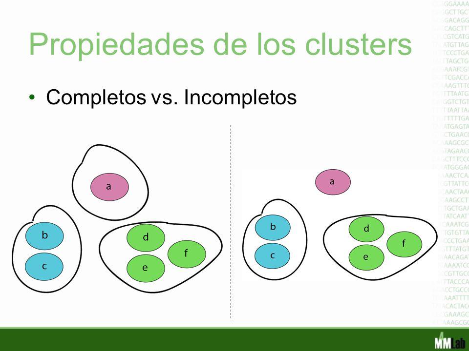 Propiedades de los clusters Completos vs. Incompletos