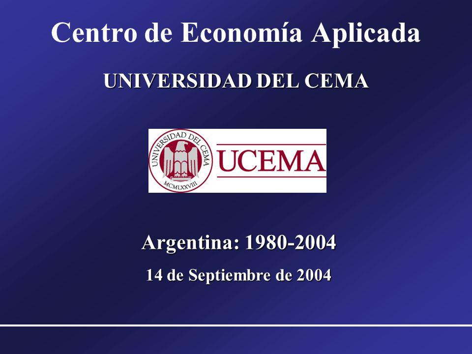 Argentina: 1980-2004 14 de Septiembre de 2004 UNIVERSIDAD DEL CEMA Centro de Economía Aplicada UNIVERSIDAD DEL CEMA