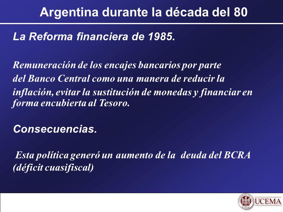 Argentina durante la década del 80 La Reforma financiera de 1985. Remuneración de los encajes bancarios por parte del Banco Central como una manera de
