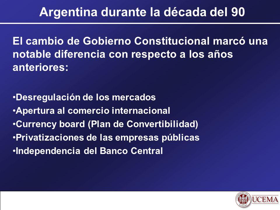 Argentina durante la década del 90 El cambio de Gobierno Constitucional marcó una notable diferencia con respecto a los años anteriores: Desregulación