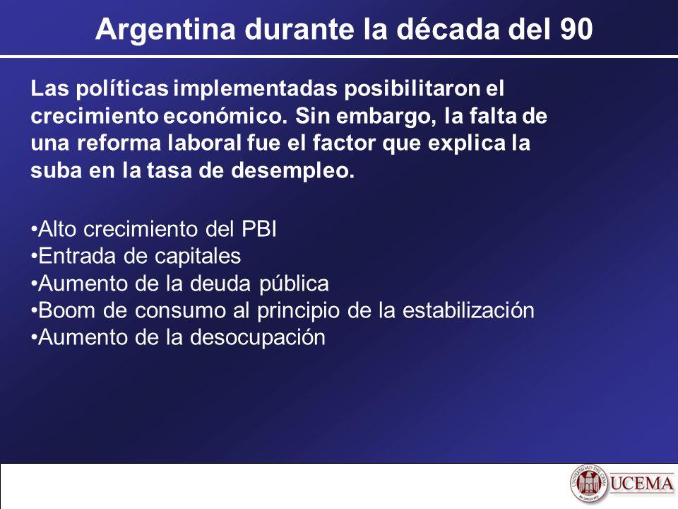 Argentina durante la década del 90 Las políticas implementadas posibilitaron el crecimiento económico. Sin embargo, la falta de una reforma laboral fu