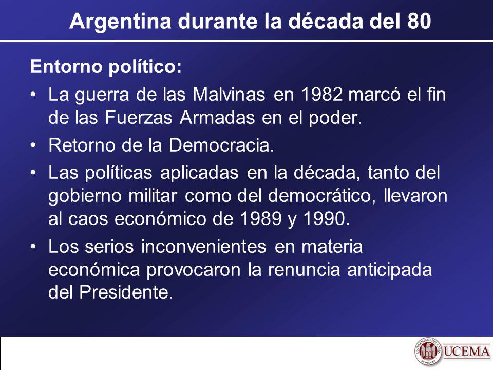 Entorno político: La guerra de las Malvinas en 1982 marcó el fin de las Fuerzas Armadas en el poder. Retorno de la Democracia. Las políticas aplicadas