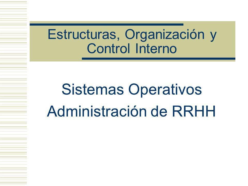 Estructuras, Organización y Control Interno Sistemas Operativos Administración de RRHH