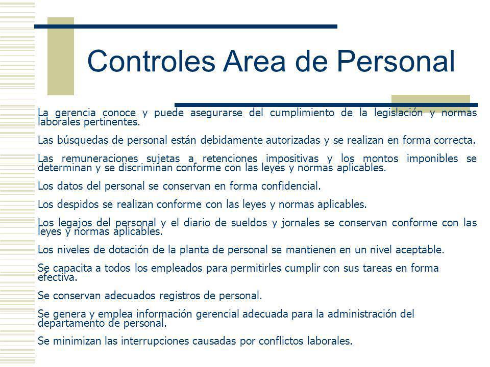 Controles Area de Personal La gerencia conoce y puede asegurarse del cumplimiento de la legislación y normas laborales pertinentes. Las búsquedas de p