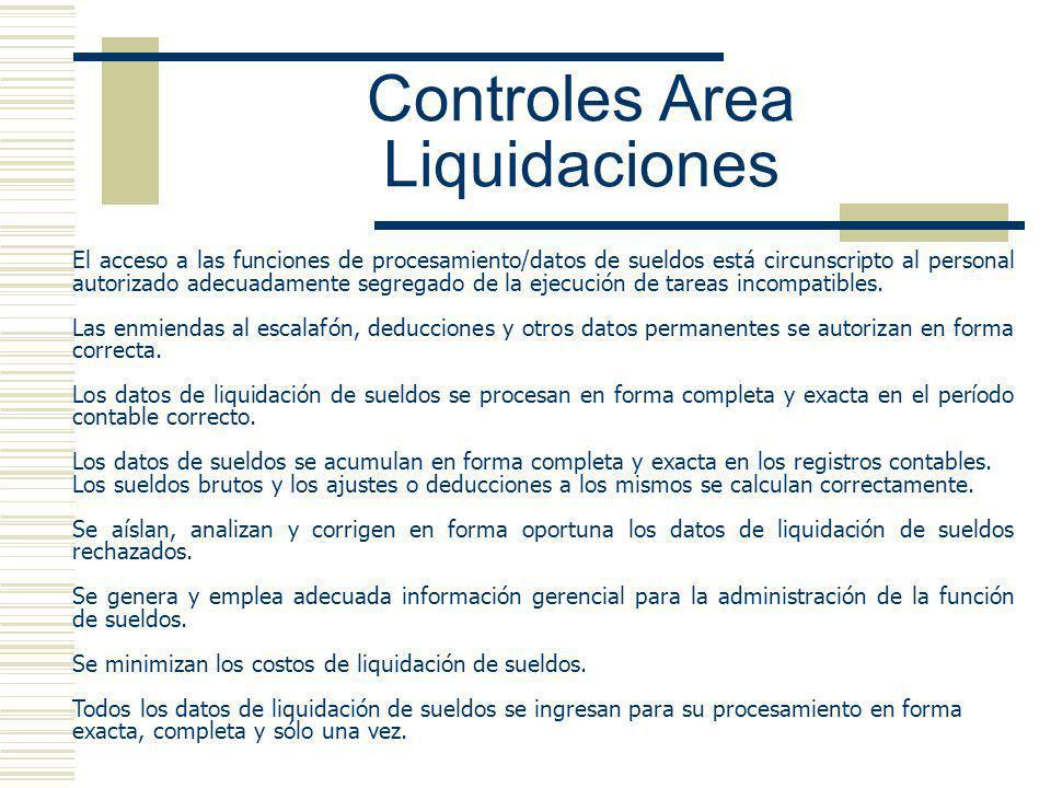 Controles Area Liquidaciones El acceso a las funciones de procesamiento/datos de sueldos está circunscripto al personal autorizado adecuadamente segregado de la ejecución de tareas incompatibles.