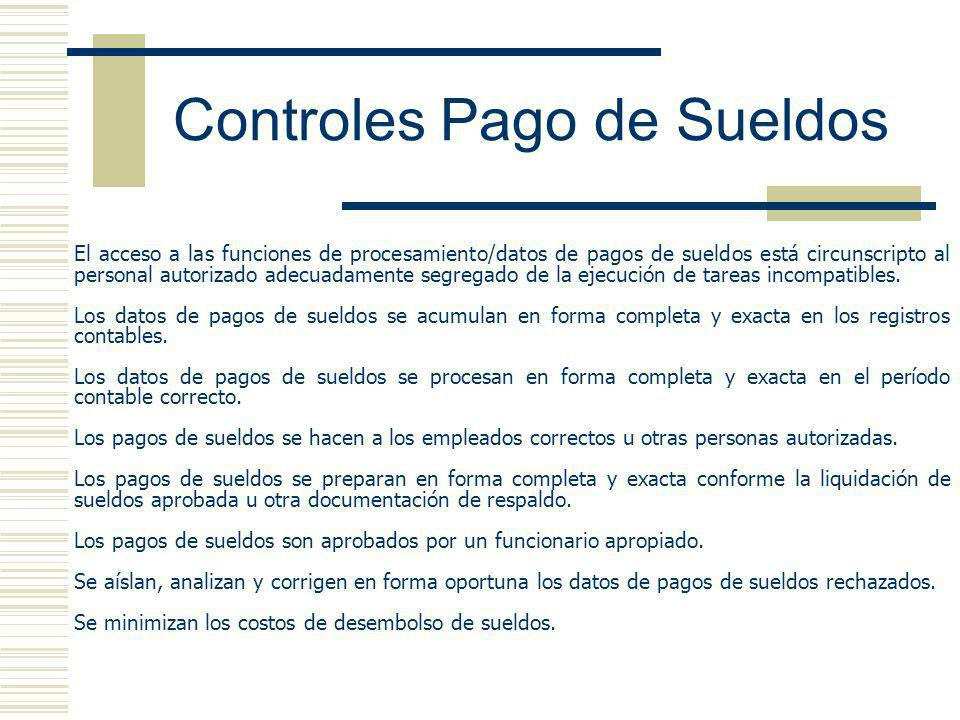 Controles Pago de Sueldos El acceso a las funciones de procesamiento/datos de pagos de sueldos está circunscripto al personal autorizado adecuadamente segregado de la ejecución de tareas incompatibles.