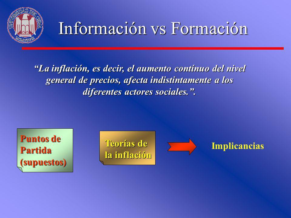 Información vs Formación La inflación, es decir, el aumento contínuo del nivel general de precios, afecta indistintamente a los diferentes actores soc