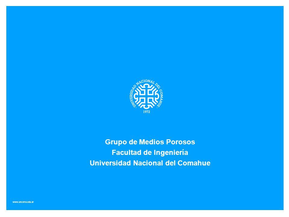 www.uncoma.edu.ar Grupo de Medios Porosos Facultad de Ingeniería Universidad Nacional del Comahue