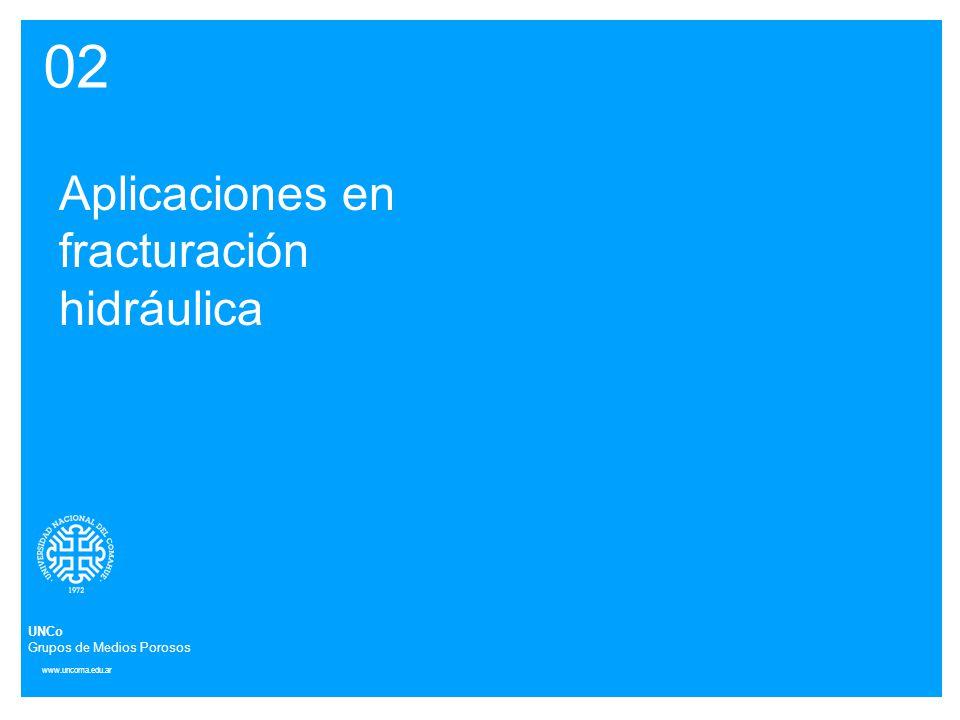 www.uncoma.edu.ar 02 Aplicaciones en fracturación hidráulica UNCo Grupos de Medios Porosos