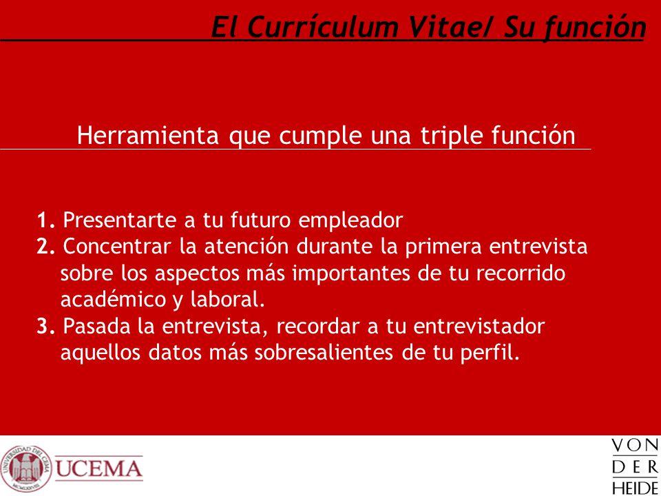 El Currículum Vitae/ Su función Herramienta que cumple una triple función 1. Presentarte a tu futuro empleador 2. Concentrar la atención durante la pr