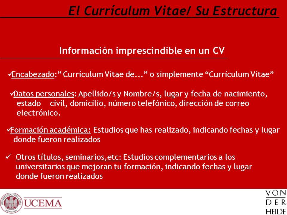 Información imprescindible en un CV El Currículum Vitae/ Su Estructura Encabezado: Currículum Vitae de... o simplemente Currículum Vitae Datos persona