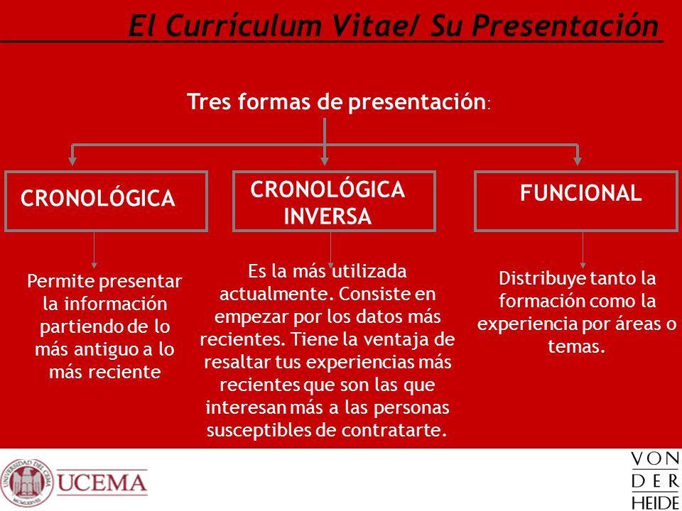 El Currículum Vitae/ Su Presentación Tres formas de presentación : CRONOLÓGICA INVERSA FUNCIONAL CRONOLÓGICA Permite presentar la información partiend