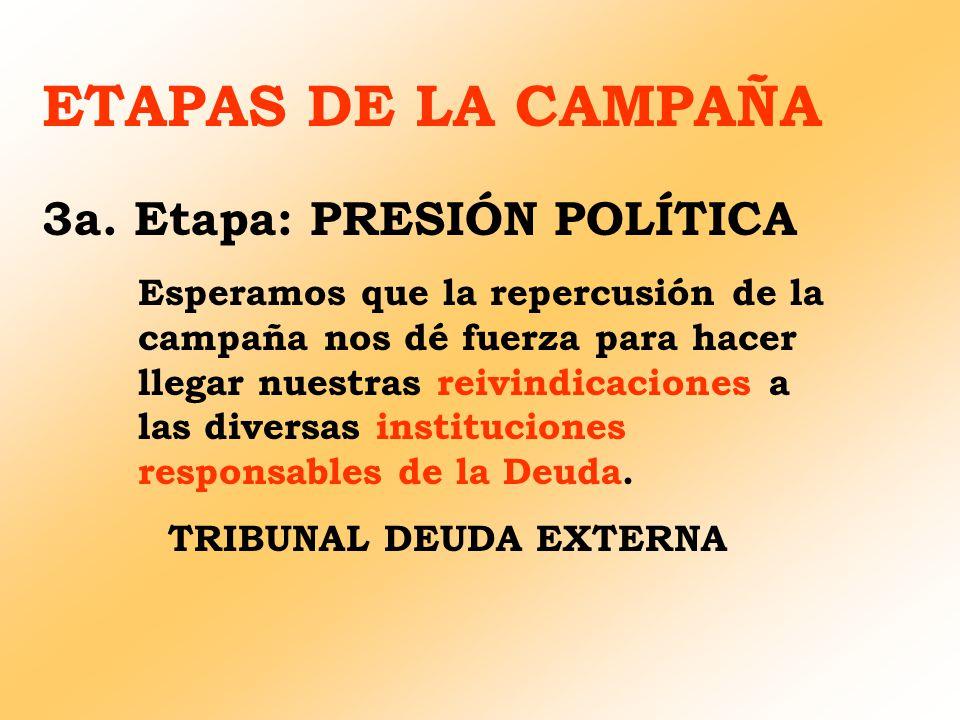 ETAPAS DE LA CAMPAÑA 3a. Etapa: PRESIÓN POLÍTICA Esperamos que la repercusión de la campaña nos dé fuerza para hacer llegar nuestras reivindicaciones