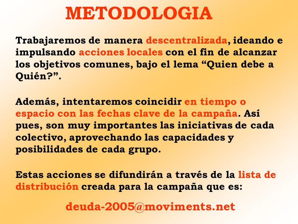 METODOLOGIA Trabajaremos de manera descentralizada, ideando e impulsando acciones locales con el fin de alcanzar los objetivos comunes, bajo el lema Q