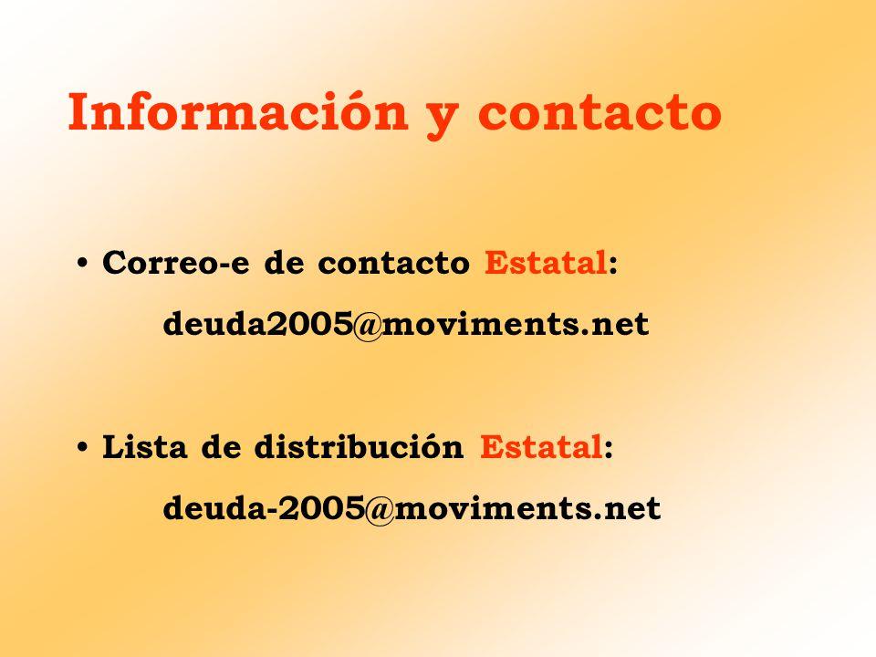 Información y contacto Correo-e de contacto Estatal: deuda2005@moviments.net Lista de distribución Estatal: deuda-2005@moviments.net