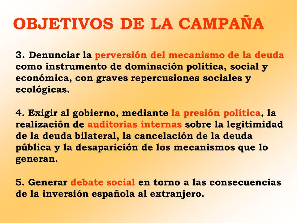 OBJETIVOS DE LA CAMPAÑA 3. Denunciar la perversión del mecanismo de la deuda como instrumento de dominación política, social y económica, con graves r